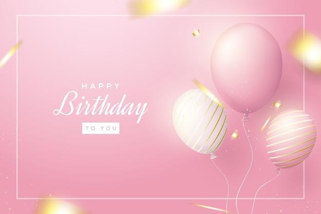 Sfondo di compleanno con tre palloncini 3d realistici