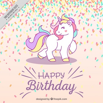 Sfondo di compleanno con unicorno