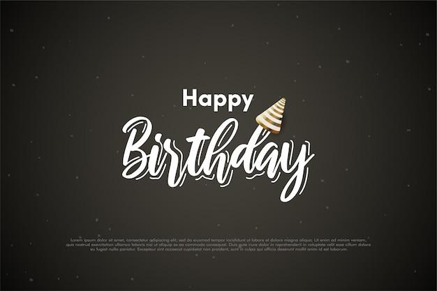 Sfondo di compleanno con scritta bianca e un cappello d'oro di compleanno.