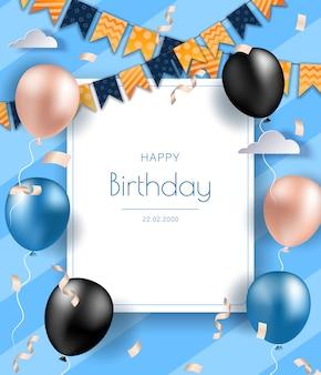 Banner di compleanno con palloncini blu e neri realistici. priorità bassa dell'invito festa di compleanno celebrazione con saluti e palloncini colorati ed elementi di compleanno