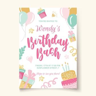 Modello di festa di compleanno con torta scritta in stile infantile