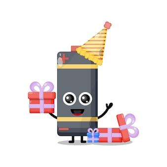 Batteria di compleanno simpatico personaggio mascotte
