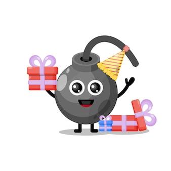 Bomba di compleanno simpatico personaggio mascotte