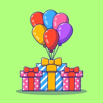 Scatola di compleanno presenta con palloncini piatto del fumetto. Vettore Premium