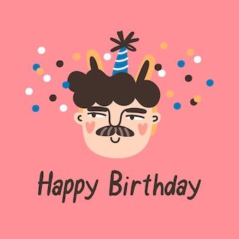 Carattere del ragazzo di compleanno con con la celebrazione del partito di frase di buon compleanno