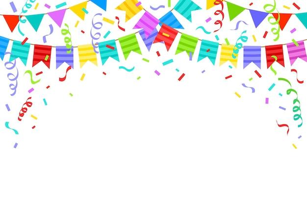 Bandiere di stamina di compleanno, nastri e coriandoli sfondo festivo. illustrazione di vettore delle decorazioni di celebrazione del partito di festa del fumetto. bandiere di festa di compleanno per congratulazioni. disegno del biglietto di auguri