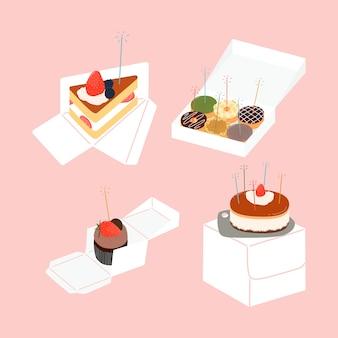 Torta di compleanno, fetta di torta, ciambelle, cupcake con illustrazione degli elementi della scatola di imballaggio.