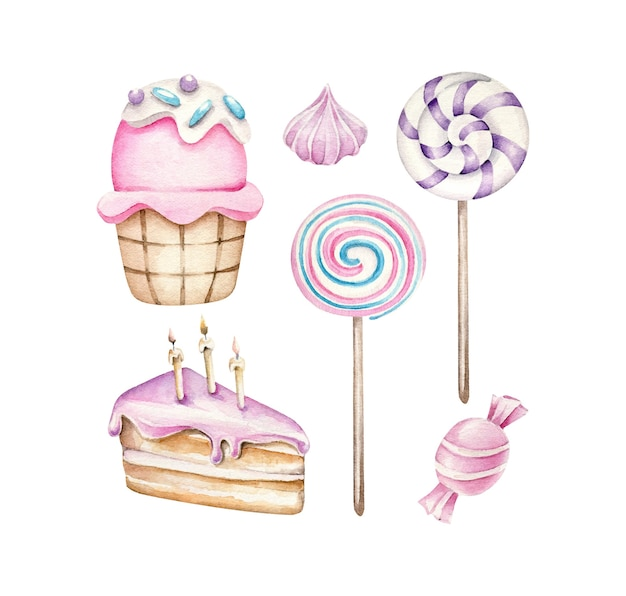 Torta di compleanno caramelle cupcake lecca-lecca