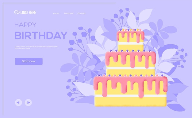 Volantino di concetto di torta di compleanno, banner web, intestazione dell'interfaccia utente, entra nel sito. consistenza del grano ed effetto rumore.