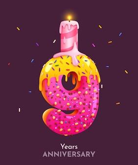 Torta di compleanno carattere numero nove