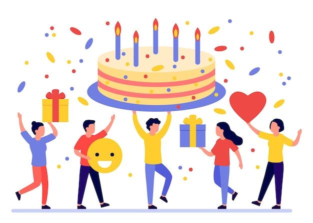 Confezione regalo torta di compleanno e saluto di gruppo di persone felici alla festa di compleanno buon compleanno