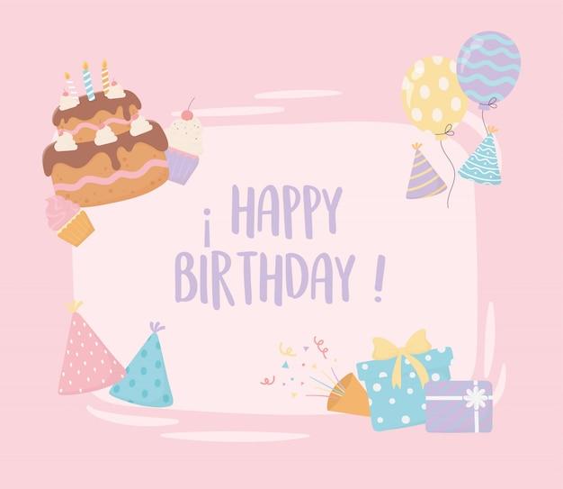 Carta di decorazione festa di compleanno cappelli palloncini cappelli canfetti palloncini