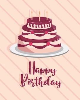 Torta di compleanno biglietto di auguri celebrazione festa illustrazione