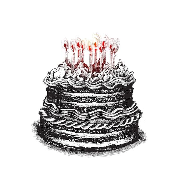Torta di compleanno icona illustrazione vettoriale buon compleanno torta per la festa di compleanno con le candele