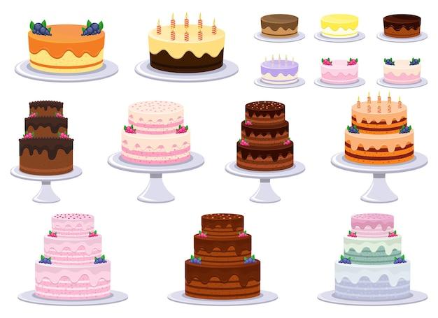 Torta di compleanno disegno vettoriale illustrazione isolati su sfondo bianco