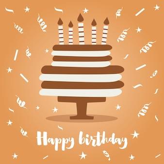 Torta di compleanno con candele e coriandoli. illustrazione di vettore.