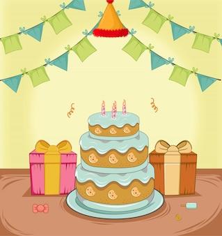 Torta di compleanno con regalo, decorazione bandiera e design piatto cappello