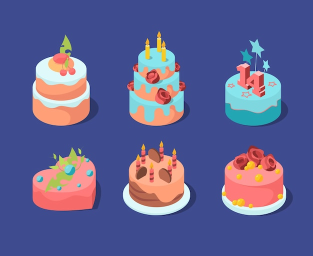 Torte di compleanno. celebrazione colorata pasticceria torta frutta candele cupcakes pasticceria fragola.