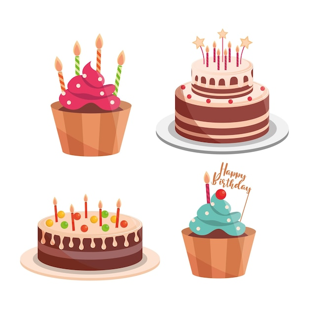 Torte di compleanno e candele cupcakes lettering celebrazione e illustrazione decorazione