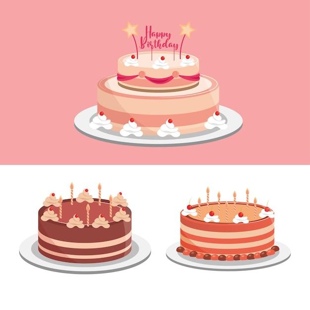 Torte di compleanno festa celebrazione festosa illustrazione