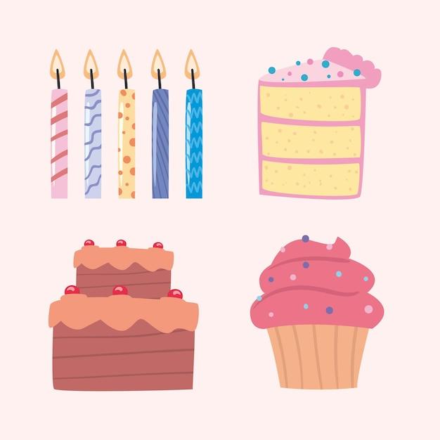 Torte di compleanno con decorazioni di candele