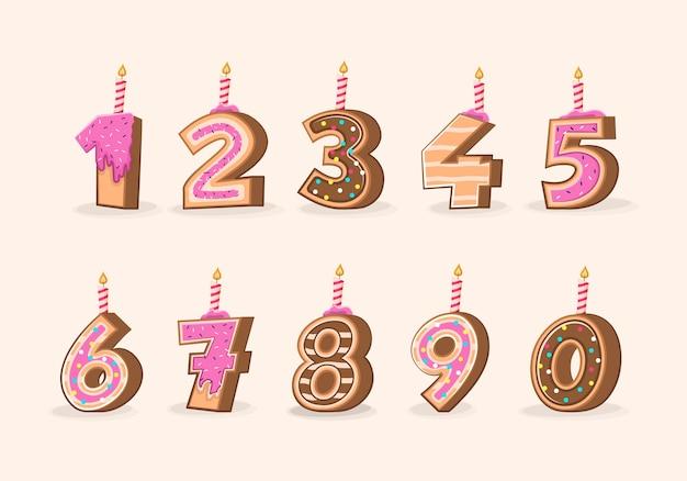 Candele di compleanno numeri di torta del fumetto