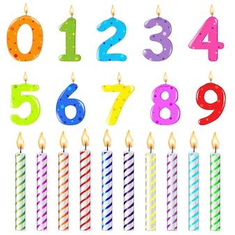 Candele di compleanno di forma diversa, su sfondo bianco, illustrazione