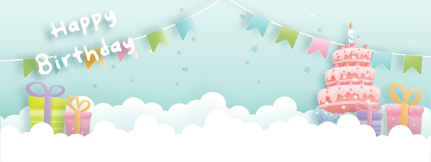 Banner di carta di compleanno con torta carina e scatole regalo, torta di compleanno.