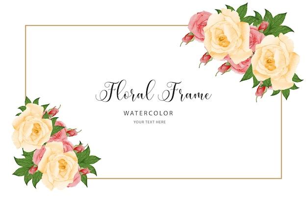 Modello di biglietto di auguri di compleanno sfondo con fiori ad acquerello arrossire rose rosa cornice floreale