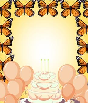 Carta di compleanno con farfalle