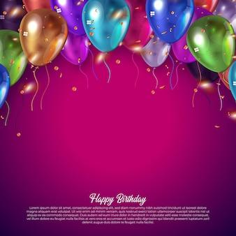 Carta di compleanno con palloncini colorati
