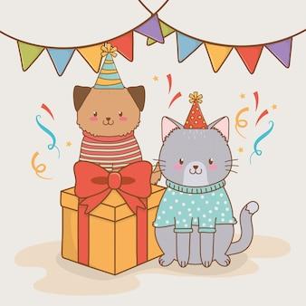Carta di compleanno con boschi di animali carini