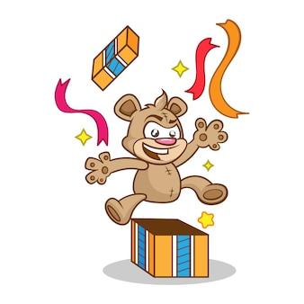 Carta di compleanno con orso carino