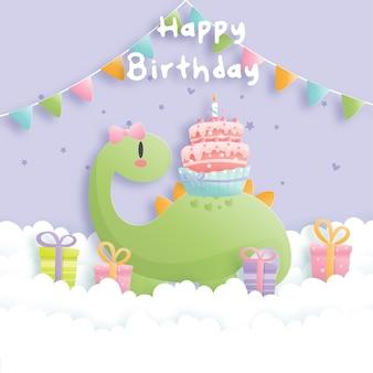 Scheda di compleanno con simpatici dinosauri e scatole regalo.
