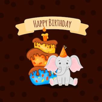 Biglietto di compleanno con elefante carino. stile cartone animato. illustrazione vettoriale.