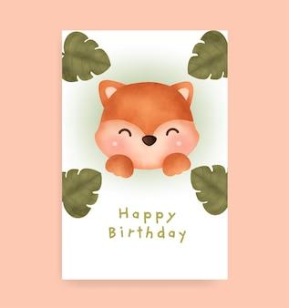 Biglietto di compleanno con volpe carina in stile acquerello