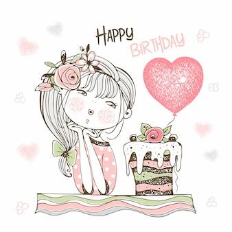 Scheda di compleanno con una ragazza carina con una torta e un palloncino.