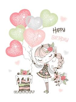 Carta di compleanno con ragazza carina con torta e palloncini.