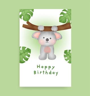 Biglietto di compleanno con simpatico koala in stile acquerello