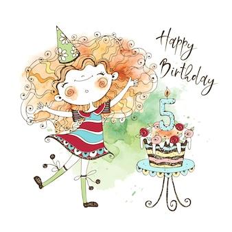 Biglietto di compleanno con una simpatica ragazza dai capelli rossi e una grande torta per il quinto anniversario, nella tecnica dell'acquerello e nello stile doodle.