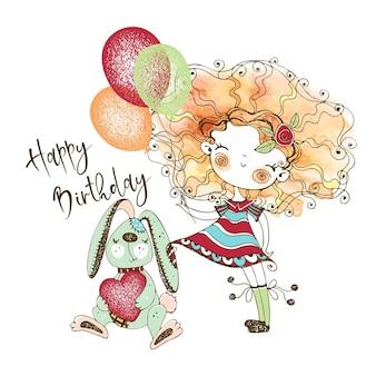 Biglietto di compleanno con una ragazza carina dai capelli rossi con un coniglio nella tecnica dell'acquerello e in stile doodle. vettore.