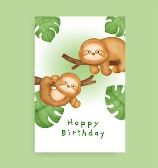 Biglietto di compleanno con bradipo carino in stile acquerello Vettore Premium