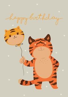 Biglietto di compleanno con tigre carina. grafica vettoriale.