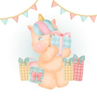 Carta di compleanno con simpatica festa di unicorno.