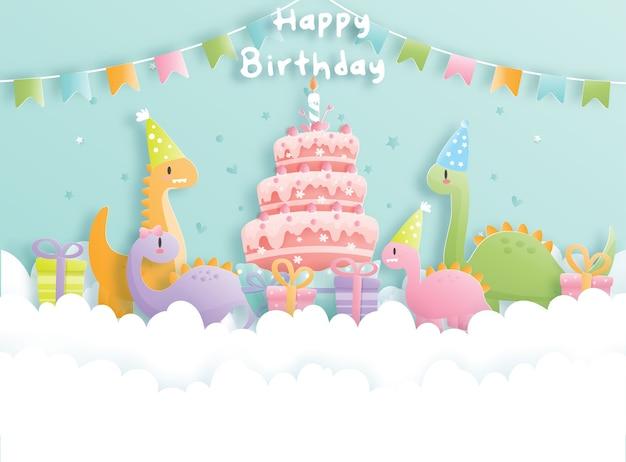 Carta di compleanno con dinosauro
