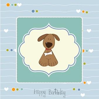 Carta di compleanno con il cane