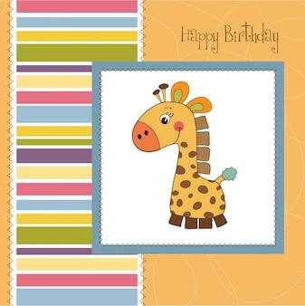 Carta di compleanno con giocattolo giraffa