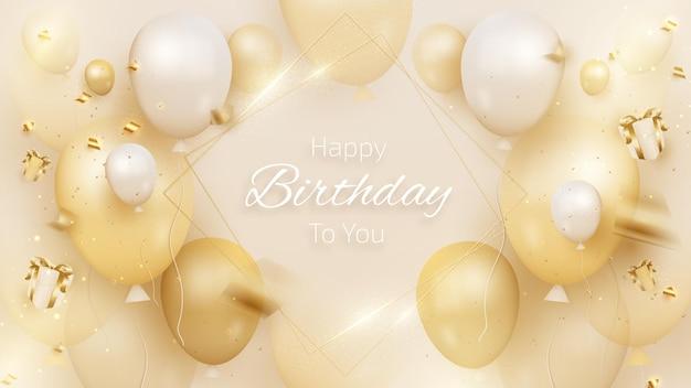 Biglietto di compleanno con palloncini e nastro di lusso, confezione regalo in stile 3d realistico su sfondo color crema. illustrazione vettoriale per il design.