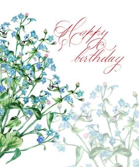 Biglietto di compleanno con illustrazione vettoriale di myosotis in fiore ad acquerello