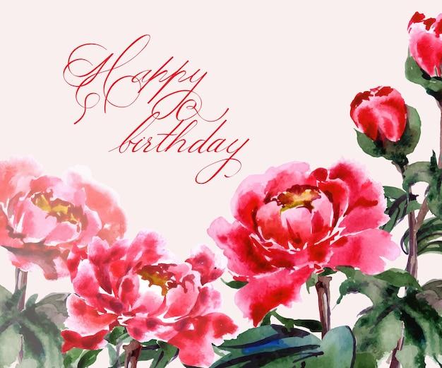 Biglietto d'auguri con peonie in fiore ad acquerello illustrazione vettoriale